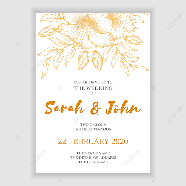 Elegant Golden Floral Wedding Invitation Template With Tropical