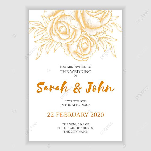 Golden Rose Wedding Invitation Card Template Simple Vintage