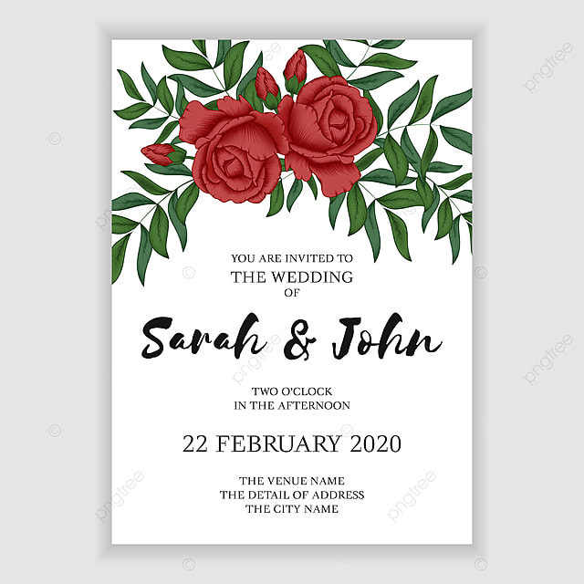 Red Rose Wedding Invitation Card Template With Greenery In