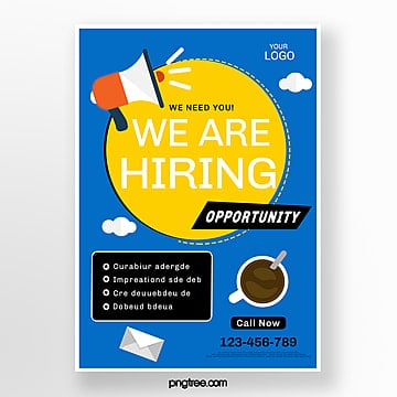 blue vector creative recruitment poster Template