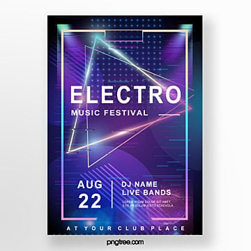 electronic music party failure style poster Template