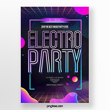 electronic music party fashion simple fluid style theme poster Template