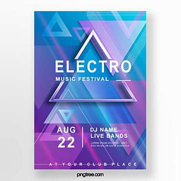 electronic music party geometric pattern poster Template