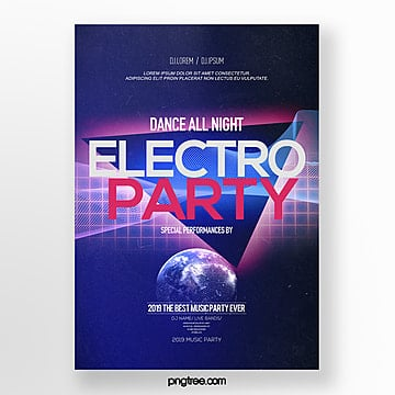 fashion color gradient electronic music party poster Template