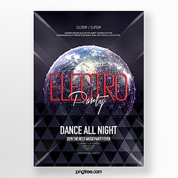 fashion luminous  electronic music party poster Template