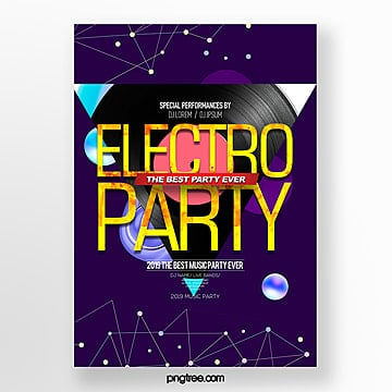 fashion personality music theme electronic music party poster Template