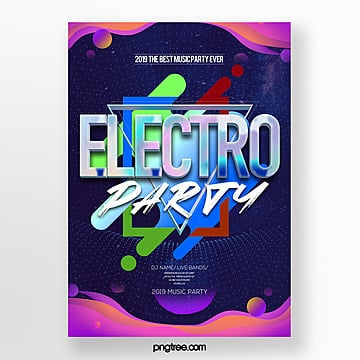 fashion simple creative electronic music party theme poster Template