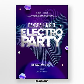 geometric line fluid style electronic music party poster Template