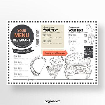 hand drawn commercial orange american western restaurant menu Template