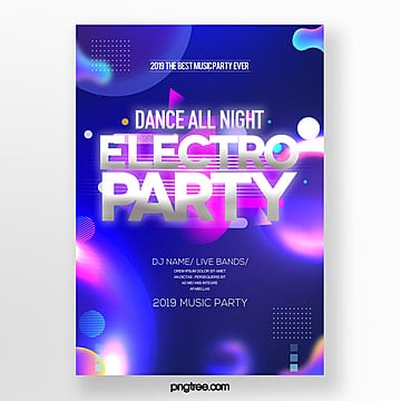 modern trend color gradient electronic music party poster Template