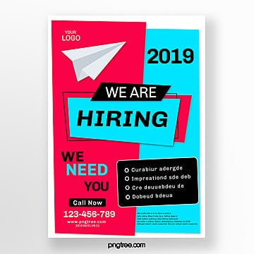 red blue creative hand drawn recruitment poster Template