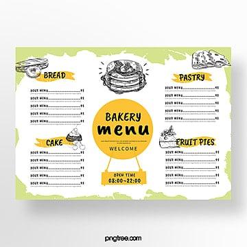 simple hand painted bakery menu Template