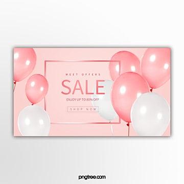 간단한 핑크 풍선 뜨거운 판매 축 하 배너 주형