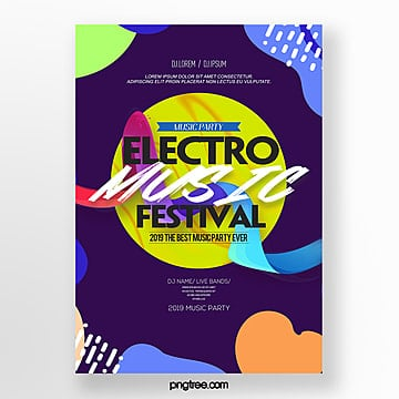 stylish color simple electronic music party poster Template