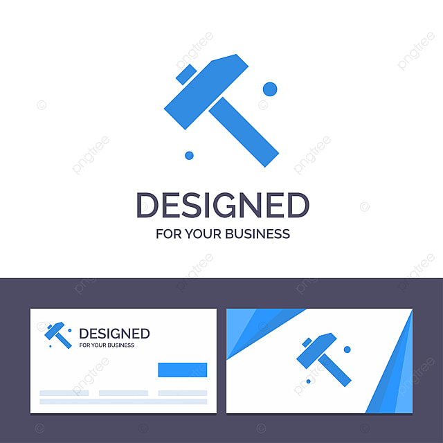 Creative Business Card And Logo Template Construction Hammer