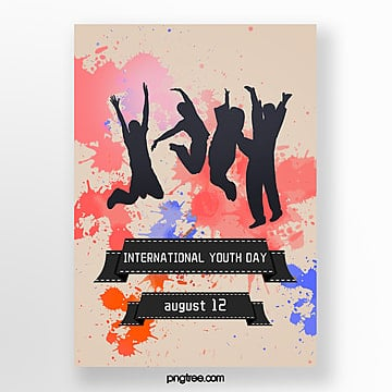 flat watercolor style youth festival poster silhouette Template