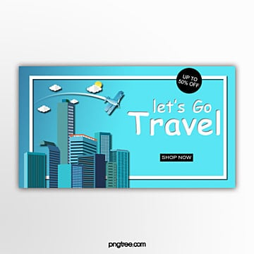 three dimensional travel promotion banner Template