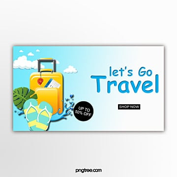 three dimensional travel vacation promotion banner Template