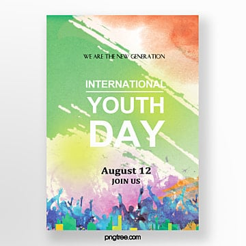 watercolor youth festival cheering poster Template