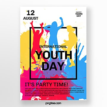 colorful watercolor splashing youth festival poster Template
