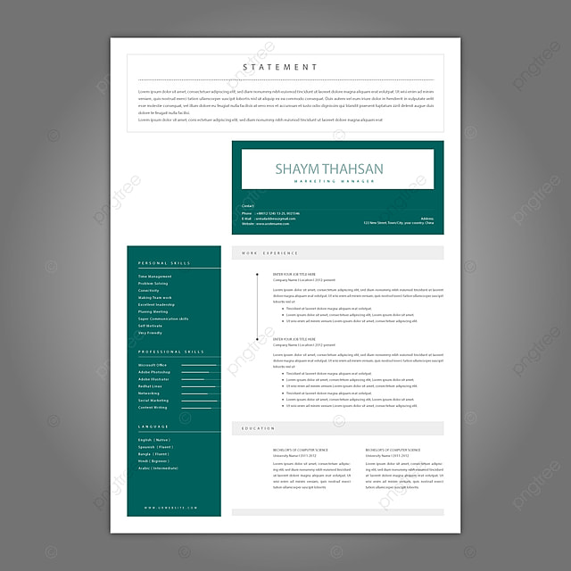 Clean Cv Template from png.pngtree.com
