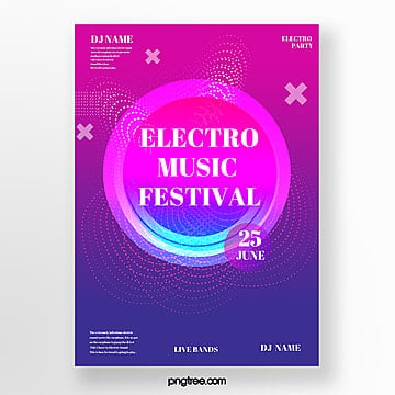 abstract line electronic music festival poster Template
