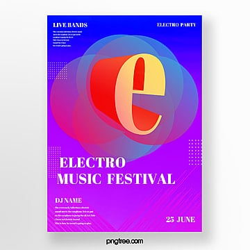 gradient color electro acoustic party poster Template