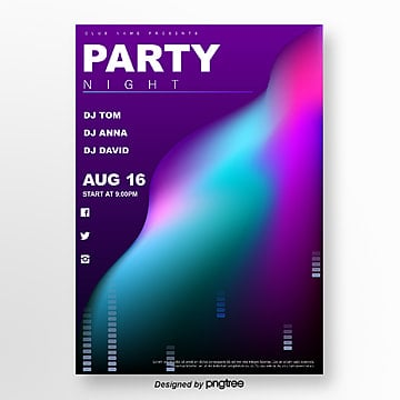 purple 3d gradient creative party poster Template