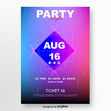 purple gradient geometric party poster Template