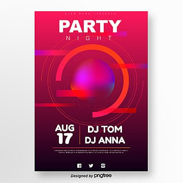 red geometric gradient abstract party night poster Template