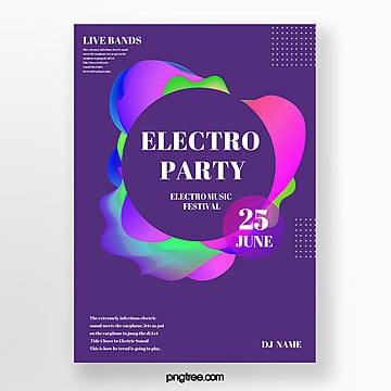 trend color electronic party poster Template