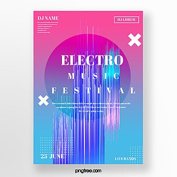 trend color  electronic music poster Template
