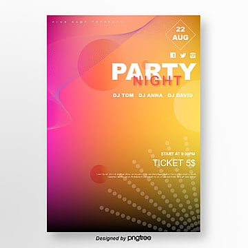 yellow gradient round geometric party poster Template
