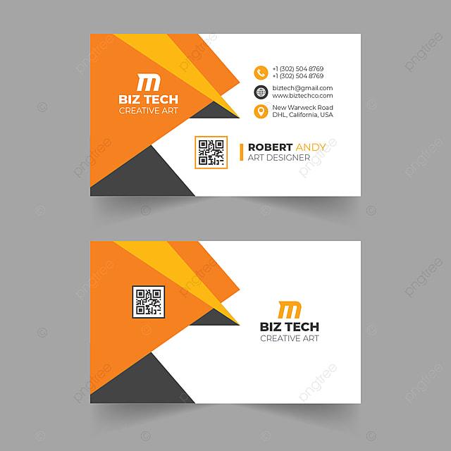 Abstract Modern Orange Vector Business Card Design