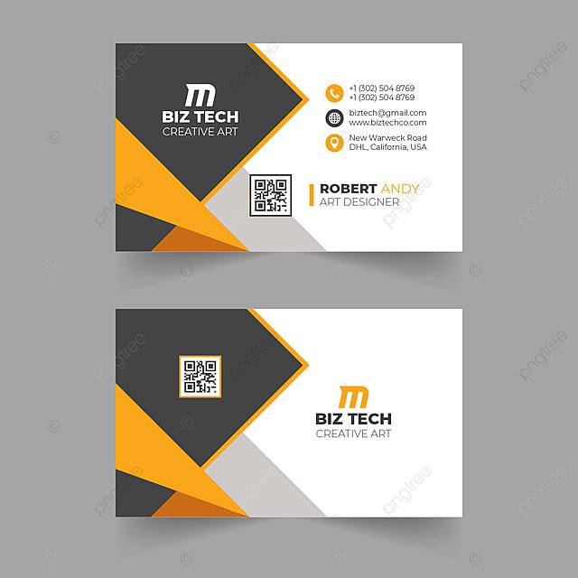 Modern Orange Vector Business Card Design Template For