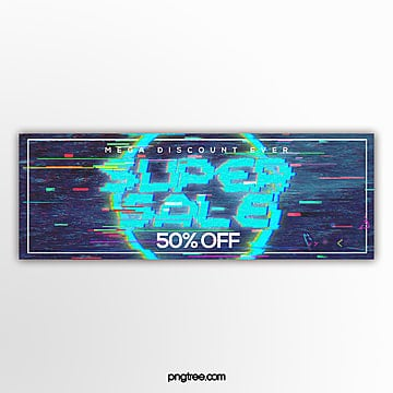abstract fashion electronic fault style promotion banner design Template