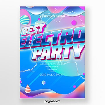 electronic music party fashion gradient fluid style poster Template