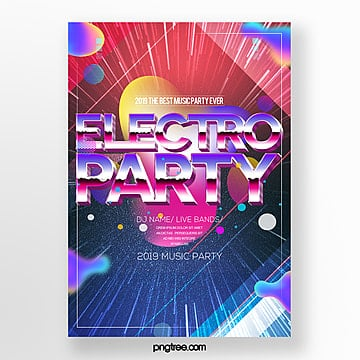 fashion color electronic music party poster design Template