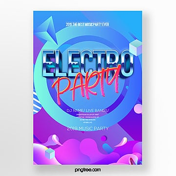 fashion color gradient electric sound party music poster Template