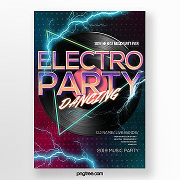fashion color gradient electro acoustic party poster Template