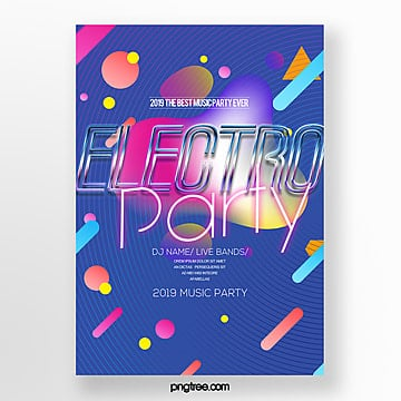 fashion color line electro acoustic party poster Template