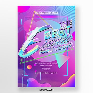fashion personality color gradient electronic night poster Template
