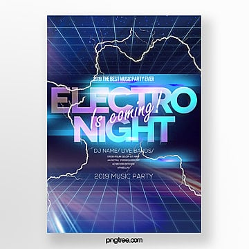 modern fashion electronic night music party poster Template