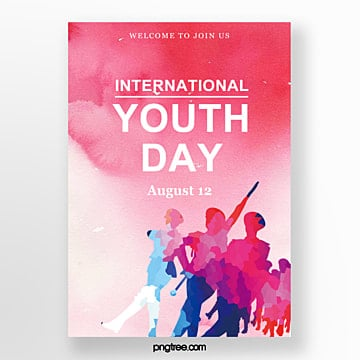 red watercolor youth festival poster Template