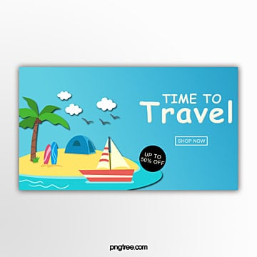beach holiday promotion banner Template