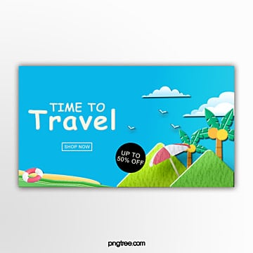 beach travel discount banner Template