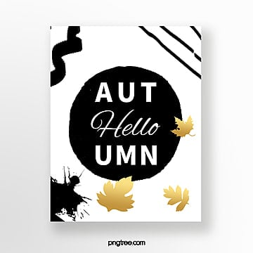 black ink autumn card Template