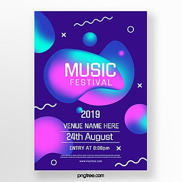 blue abstract liquid music festival poster Template