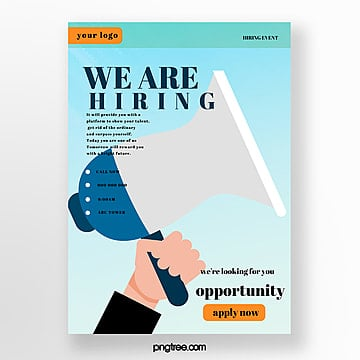 cartoon creative recruitment poster Template