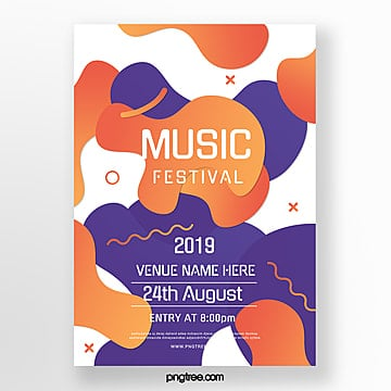 colored abstract gradient music festival poster Template